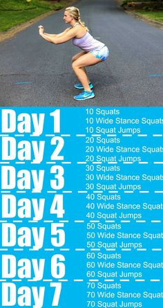 Seven day squat challenge with shick happily hughes Squat Challenge, 7 Day Challenge, Health Challenge, Thigh Challenge, Water Challenge, Sassy Water, Fitness Herausforderungen, Health Fitness, Fitness Journal