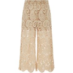 Self Portrait Cropped Lace Culottes ($435) ❤ liked on Polyvore featuring pants, capris, urban pants, paisley pants, lace pants, paisley wide leg pants and cropped pants