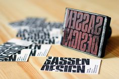Sassen Design rubber stamp business cards.