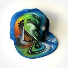 Custom SNAPBACK hat with GRAFFITI name. INITIALS. Full cap. Baseball Cap. Flat peak. Hip hop. Personalized cap. Hand painted. Airbrushed hat Painted Hats, Hand Painted, Graffiti Names, Snapback Hats, Airbrush, Baseball Cap, Initials, Hip Hop, Fans