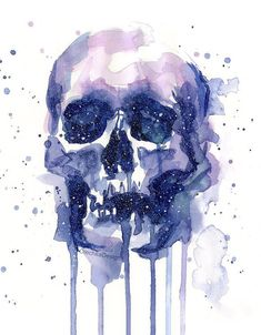 Galaxy painting - space skull by olga shvartsur Skull Painting, Galaxy Painting, Crane, Girl Faces, Skull Wall Art, Animal Art Projects, Robot Concept Art, Harry Potter, Human Art