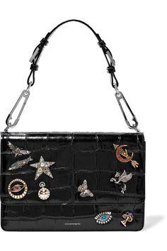 ALEXANDER MCQUEEN Embellished croc-effect leather shoulder bag