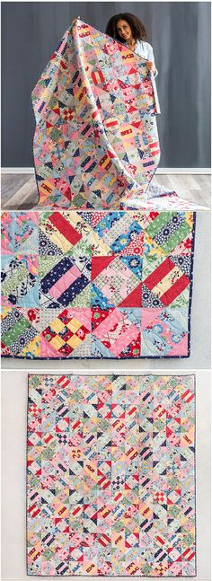 Abysinna Quilt by Craftsy.  Scrappy strip pieced quilt using boundless fabrics.  Scrappy quilt kit.  affiliate link.