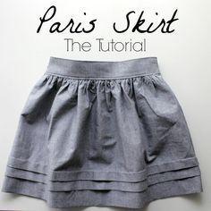 "Tuto jupe ""Paris"" - Paris skirt tutorial by ""Nothing too fancy"" Sewing Patterns Free, Free Sewing, Sewing Tutorials, Sewing Hacks, Sewing Projects, Dress Tutorials, Coat Patterns, Tutorial Sewing, Skirt Patterns Sewing"