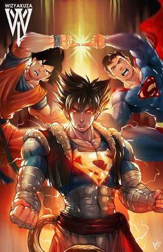 Dragon Ball Z - Superman & Goku Fusion Comic Manga, Anime Comics, Dc Comics, Black Comics, Manga Anime, Twilight Princess, Dragonball Anime, Naruto, Superman
