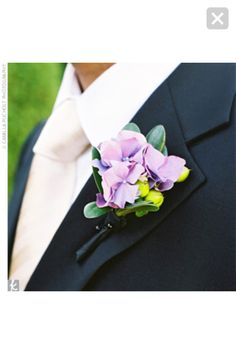 Frank and his groomsmen wore simple boutonnieres made from lavender hydrangeas. A sprig of lime-colored berries set the groom apart from the rest of the men. Purple Bouquets, Wedding Bouquets, Wedding Flowers, Groomsmen Boutonniere, Groom And Groomsmen, Hydrangea Boutonniere, Boutonnieres, Purple Hydrangea Wedding, Purple Hydrangeas