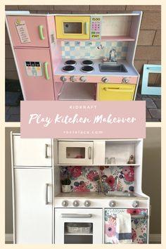Kids Wooden Kitchen, Toddler Kitchen, Diy Play Kitchen, Toddler Playroom, Toy Kitchen, Kitchen Redo, Kitchen Remodel, Countertop Makeover, Diy Countertops