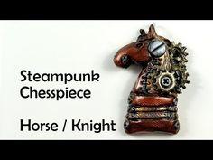 Steampunk chess piece: Horse / Knight - polymer clay charm TUTORIAL