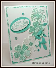 coastal cabana, my fave SU color of all times. I started out with some pretty flowered DP for a boarder. The flowers are stamped and punched with SU's pansy bundle. I added some die cut leaves, and a few sequins. The sentiment is also SU from Simply Sketched.  http://stampingupnorthwithlaurie.blogspot.com/2014/06/coastal-cabana.html