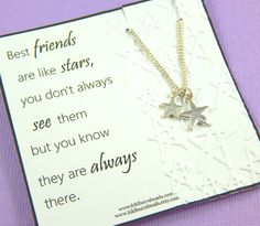 Best Friends Necklace, Star Necklace, Silver Star Charm Necklace, Friendship Necklace, Silver Charm Necklace, Best Friend Long Distance Gift by Kikiburrabeads on Etsy