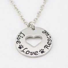 """""""Live Love Rescue """"Necklace Pet Lover Heart pendant necklace- Proceeds to the Belize Humane Society"""