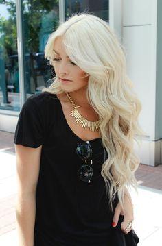 beautiful long platinum blonde hair