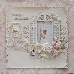 Too white for me, but it sure is pretty! Love the window/shutters/flowerbox idea. Scrapbook Page Layouts, Scrapbook Cards, Wedding Scrapbook Pages, Scrapbook Sketches, Vintage Scrapbook, Love Scrapbook, Heritage Scrapbooking, Mixed Media Scrapbooking, Digital Scrapbooking