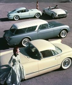 Chevrolet, 1954.  *I'd Never seen the Fastback version (top left) of a 1954 Corvette before.  I wonder if it was a show car?