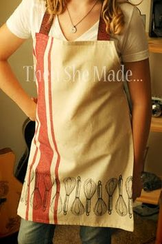 Making an apron out of dish towels!  So cute!  would be great with seasonal towels.