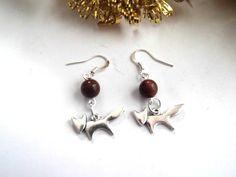 Silver Fox Dangle Earrings, Vegan Jewelry, Silver Foxes, Brown Organic Beads, Fox Jewelry, Eco-Friendly Jewelry, Animal Lover Jewelry by TerriJeansAdornments on Etsy