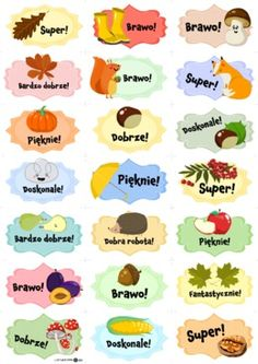 Jesienne obrazki motywacyjne - Printoteka.pl Polish Language, Asd, Diy For Kids, Diy And Crafts, Classroom, Education, Schools, Speech Language Therapy, Poster