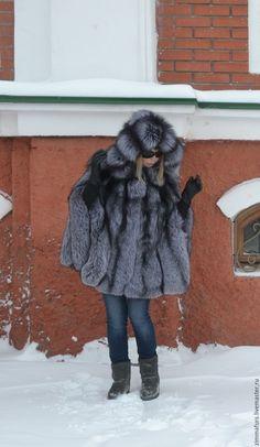 Купить Пончо из меха черно-бурой (серебристой) лисы с капюшоном. - меховое пончо, пончо из меха