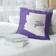 """East Urban Home Home Sweet Pillow Cover Size: 14"""" x 14"""", Color: Purple, City: Mesa"""