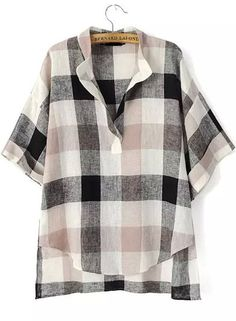 Black Beige V Neck Plaid Loose Blouse