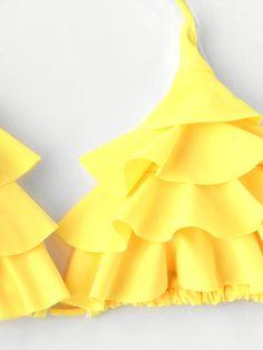 Shop Tiered Layer Tassel Tie Bikini Swimsuit at ROMWE, discover more fashion styles online. Modest Bikini, Flounce Bikini, Halter Bikini, Bikini Set, Bikinis For Teens, Layered Tops, Bird Prints, Bikini Fashion, Tassels