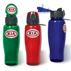 Flip top water bottles with great custom graphics and logos from http://www.penfactory.com/