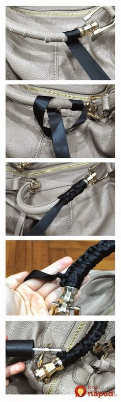How to save torn handbag handles with ribbon tutorial. How to save torn handbag handles with ribbon tutorial. Diy Purse Handles, Diy Bags Purses, Diy Accessoires, Do It Yourself Fashion, Diy Clothing, Sewing Hacks, Diy Fashion, Home Fashion, Fashion Ideas