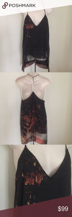 "New Kimberly Ovitz Runway Erosion Print Silk Tank This is a gorgeous runway Kimberly Ovitz tank top. Black with rust erosion print. Size small. 100% silk spaghetti strap. Completely lined. Bust 35"" length back 30"" front 27"". No flaws. Kimberly ovitz Tops Tank Tops"