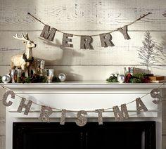 Pottery Barn - German Glitter Merry Christmas Garland.
