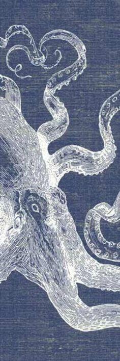 Indigo Denim Blue and White Octopus Art Print