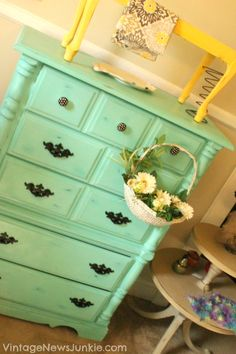 Turquoise Dresser and Yellow Table painted with Junkie Paint