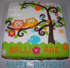 "Owls 2 layer, 12"" owl themed 1st birthday cake iced in fondant. I hand rolled all of the tree branches & I hand cut the owls &..."
