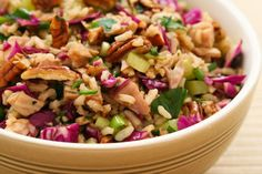 Brown Rice Salad with Leftover Turkey (or chicken), Red Cabbage, and Pecans from Kalyn's Kitchen