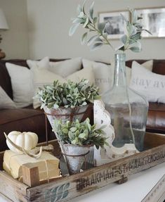 Add some greenery to our Zinc Flower Cone Pots for a simple but beautiful coffee table display. Country Decor, Farmhouse Decor, Antique Farmhouse, Living Room End Table Decor, Living Rooms, Coffe Table, Table Tray, Entry Tables, Rustic Wood Signs