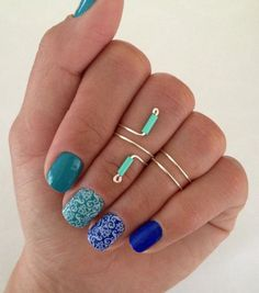 Two of my favorite things: The color turquoise and midi rings! Unique Turquoise Midi Ring Set, glass colored turquoise bead ring and 2 simple bands from MyRingsAndThings.etsy.com  *lace nail decals from Lorelei.jamberrynails.net