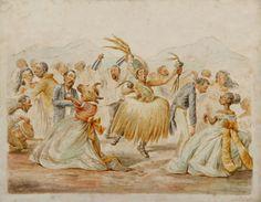 Fiesta de Carnaval (Festival de Carnaval) Víctor Patricio Landaluze ca 1880 tinta y acuarela sobre papel grueso establecidas a bordo de 8 1/4 x 10 3/8 pulgadas 04545