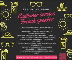 French speaker - Customer service based in #Barcelona. Contact marc@highfive-recruitment.com  #career #greatjob #country #customerservice #recruitment #success #potential #hiring #highfiveyourcareer #decision #candidate #business #opportunity #highfiveyourjob #frenchspeaker #sunattitude