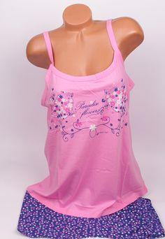 Лятна пижама макси с розов потник и сини къси панталонки с малки цветни цветя