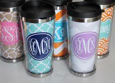 Travel Coffee Tumbler - Monogrammed Tumbler - Custom Coffee Mug by happythoughtsgifts on Etsy https://www.etsy.com/listing/169315321/travel-coffee-tumbler-monogrammed