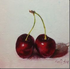 """Daily Paintworks - """"Twin Cherries. Oil on canvas 6x6"""" - Original Fine Art for Sale - © Nina R. Aide"""