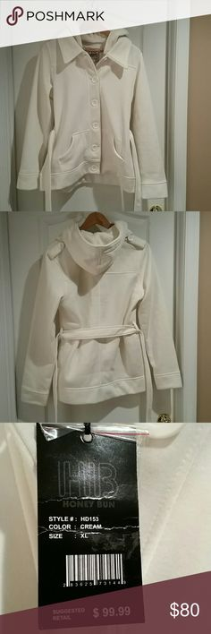 NWT Honey Bun jacket NWT very soft Honey Bun cream colored jacket. Two pockets, shoulder detail, removable belt and removable hood, comes with 3 different extra buttons. Size xl. There are no holes, rips or stains on fabric. Smoke free home.  ?? I also offer a 10% discount when you purchase 2 or more items from my closet in a single order using the bundle feature. honey bun Jackets & Coats