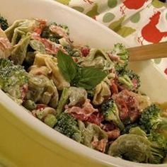 A pasta salad made with cheese tortellini, bacon, and broccoli makes a flavorful side dish, and it's hearty enough to make a lunch or light meal, too.