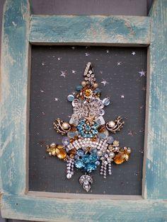 Rhinestone Jewelry Tree in Primitive Chalk Blue Frame by lynnery