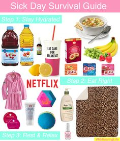 Sick Day Survival Guide | Sick Day Tips | What to do when you're sick | Sick Day Ideas | 3 Steps to Being Healthier | BRAT Diet - Banana, Rice, Applesauce, Toast | What to Eat When Sick | Lemon Water | Oil of Oregano | Soar Throat Tips |