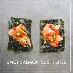Spicy Salmon Sushi Bites [doubled up squares of nori; slices of avocado & smoked salmon; bits of green onion; sprinkle of toasted sesame seeds] Salmon Sushi, Spicy Salmon, Smoked Salmon, Sushi Sushi, Sushi Rolls, Sushi Recipes, Spicy Recipes, Appetizer Recipes, Healthy Recipes
