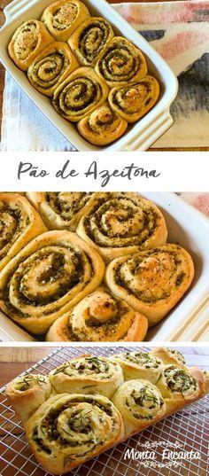 Pão de Azeitona uma receita simples de fazer, sem muita sova e nem muita fermentação, dá para fazer rapidinho para o lanche da tarde :)