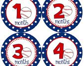 Baby Month Stickers Boy Monthly Boy Stickers Blue Red Polkadot Baseball Sports Onesie Month Stickers Baby Shower Gift and Photo Prop Logan