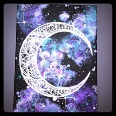 "Galaxy Acrylic Hand painted canvas. ""Galaxy"" and henna crescent moon. 12' x 16' Other"