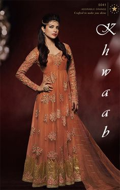 INDIAN DESIGNER LONG ANARKALI STYLE DRESS IN ADORABLE ORANGE MODELED BY PRIYANKA CHOPRA