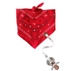 Click Pic To Buy! New Organic Cotton Red Paisley Bandana bib with pacifier clip. Fits from 3 mths to 3 years. Clip can also be used to hold baby's favorite little toy. More styles available at www.nobleniches.com #baby #babybib #pacifier #bandanabib #babygift #babyshower
